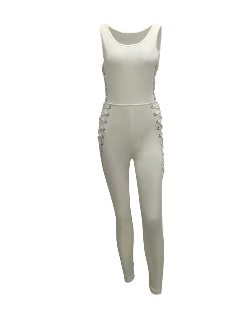 Для женщин пикантные Комбинезоны для женщин без рукавов с круглым вырезом сбоку кроссовер Кружево длинные Комбинезоны для женщин a08jm105