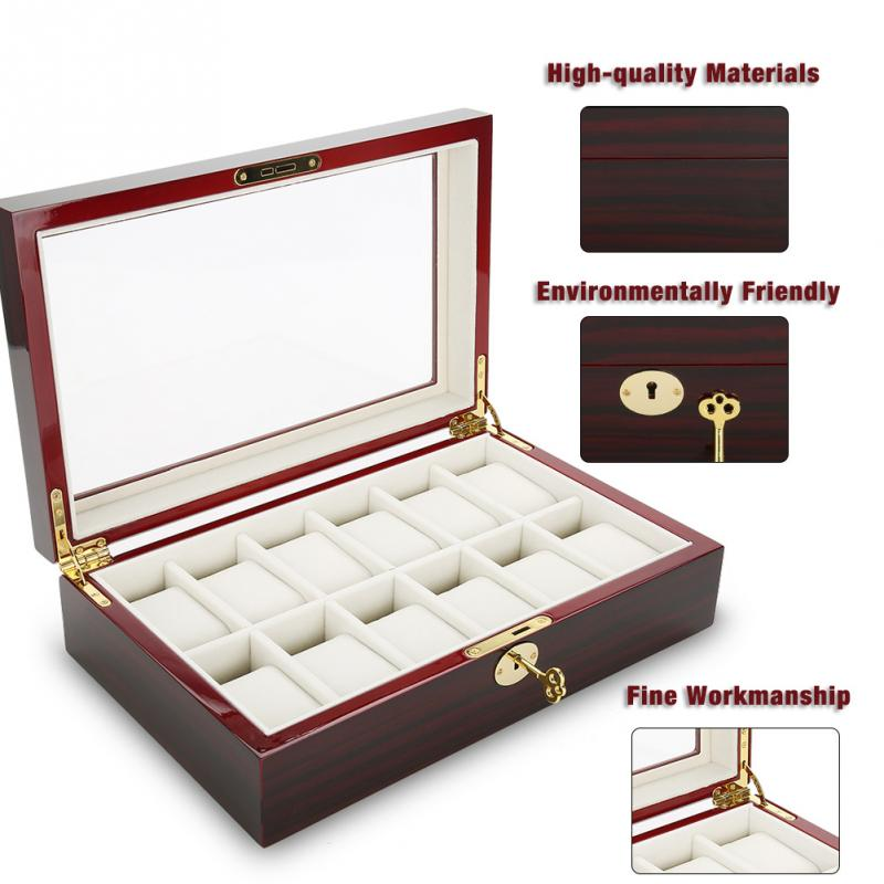 12 Grids Wooden Watch Display Case Plush Watch Box for WristWatches Jewelry Watch Winder Storage Organizer Holder Metal Buckle cymii pu leather 10 slot jewelry storage holder wrist watch display box storage holder organizer case watch box gifts