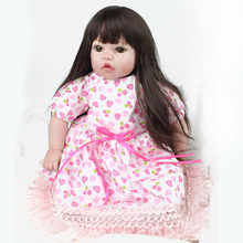 Kawaii Soft Silicone Reborn Dolls Baby Realistic Fake Babies 22 Inch 55cm Handmade Birthday Gift For Kids(China)