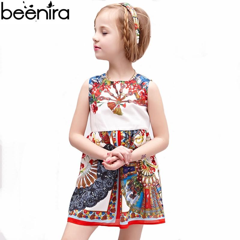 BEENIRA Summer Girls Retro Dress Kids Court Printing High Quality - Children's Clothing