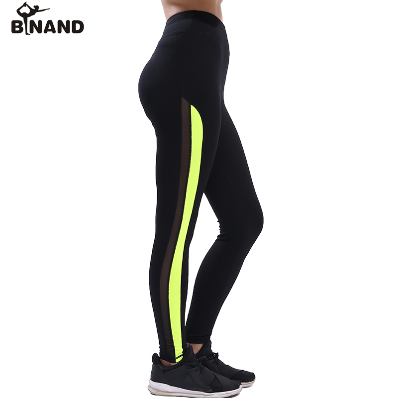 f1fe1e3107afd BINAND Females Side Stripe Mesh Elastic Waist Yoga Pants Tights Comfortable Leggings  Outdoor Running Fitness Sports Trousers