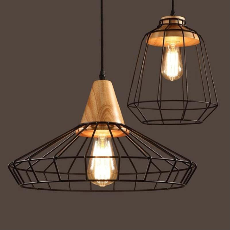 Vintage Industrial Black Iron Cage Pendant Lights Lamps Dining Room Cafe Bar Loft warehouse vintage hanging Lighting D25/D40cm restaurant bar cafe pendant lights retro hone lighting lamp industrial wind black cage loft iron lanterns pendant lamps za10