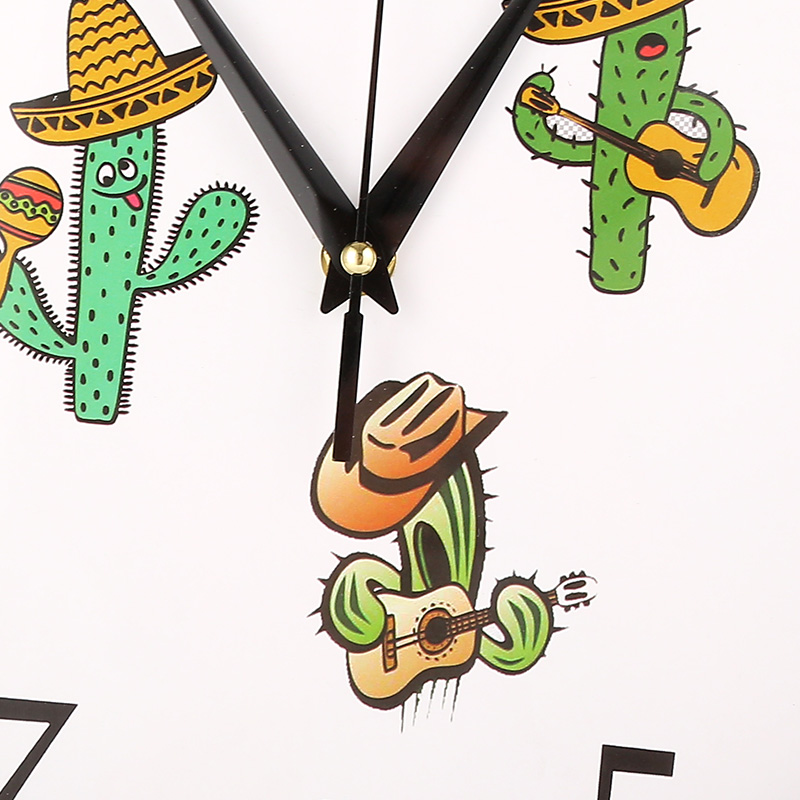 Interesting Happy Cactus Plant Wall Clock Lovely Mute Living Room Time Quartz Clock Slient Study Wall Watch Office Quiet Clocks in Wall Clocks from Home Garden