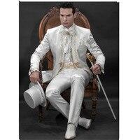 Для мужчин дизайнерский костюм жениха костюм белый свадебный костюм жениха золото Кружево вышитые костюм на заказ (куртка + Брюки для девоч