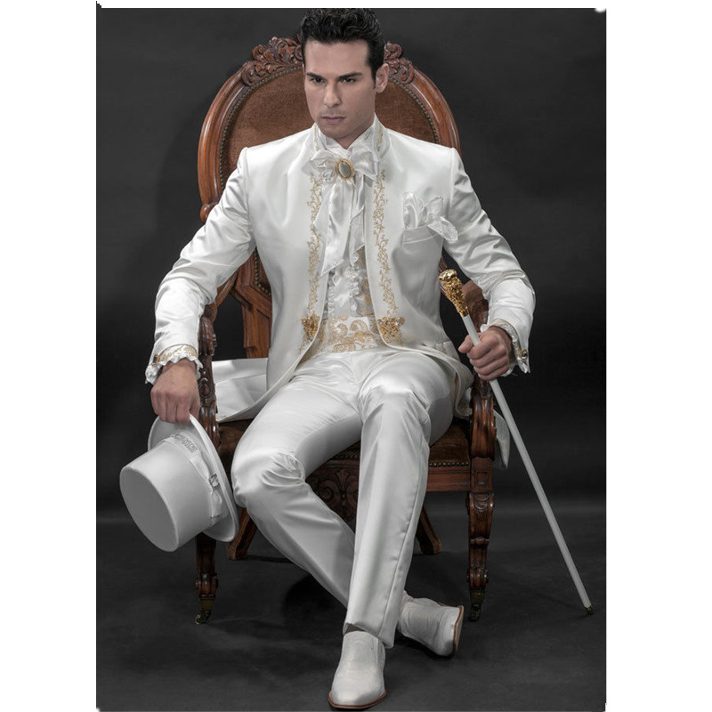 Men's Designer Suit Groom Suit White Wedding Suit Groom Gold Lace Embroidered Suit Custom (Jacket + Pants + Girdle)