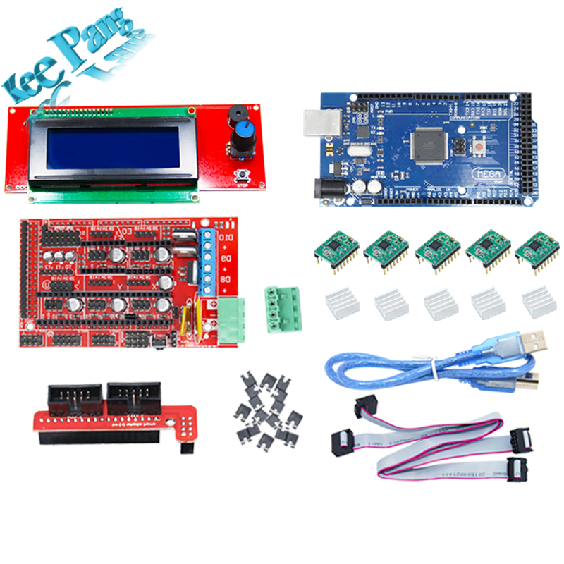 купить 1pcs Mega 2560 R3 + 1pcs RAMPS 1.4 + 5pcs A4988 Stepper Driver Module +1pcs 12864 Controller 3D Printer Board Parts kit Part Set онлайн