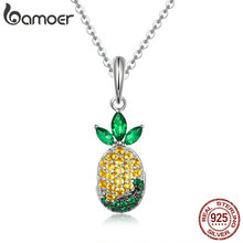 BAMOER High Quality 925 Sterling Silver Summer Pineapple Fruit Zircon Pendant Necklaces for Women Silver Jewelry Collar