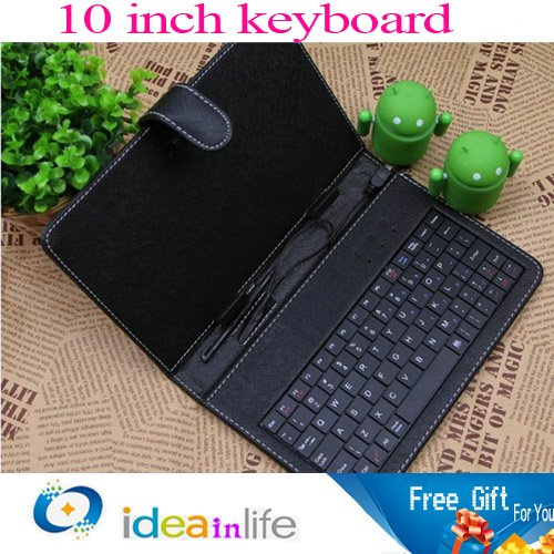 free shipping 10 inch tablet Leather case with USB keyboard for tablet PC
