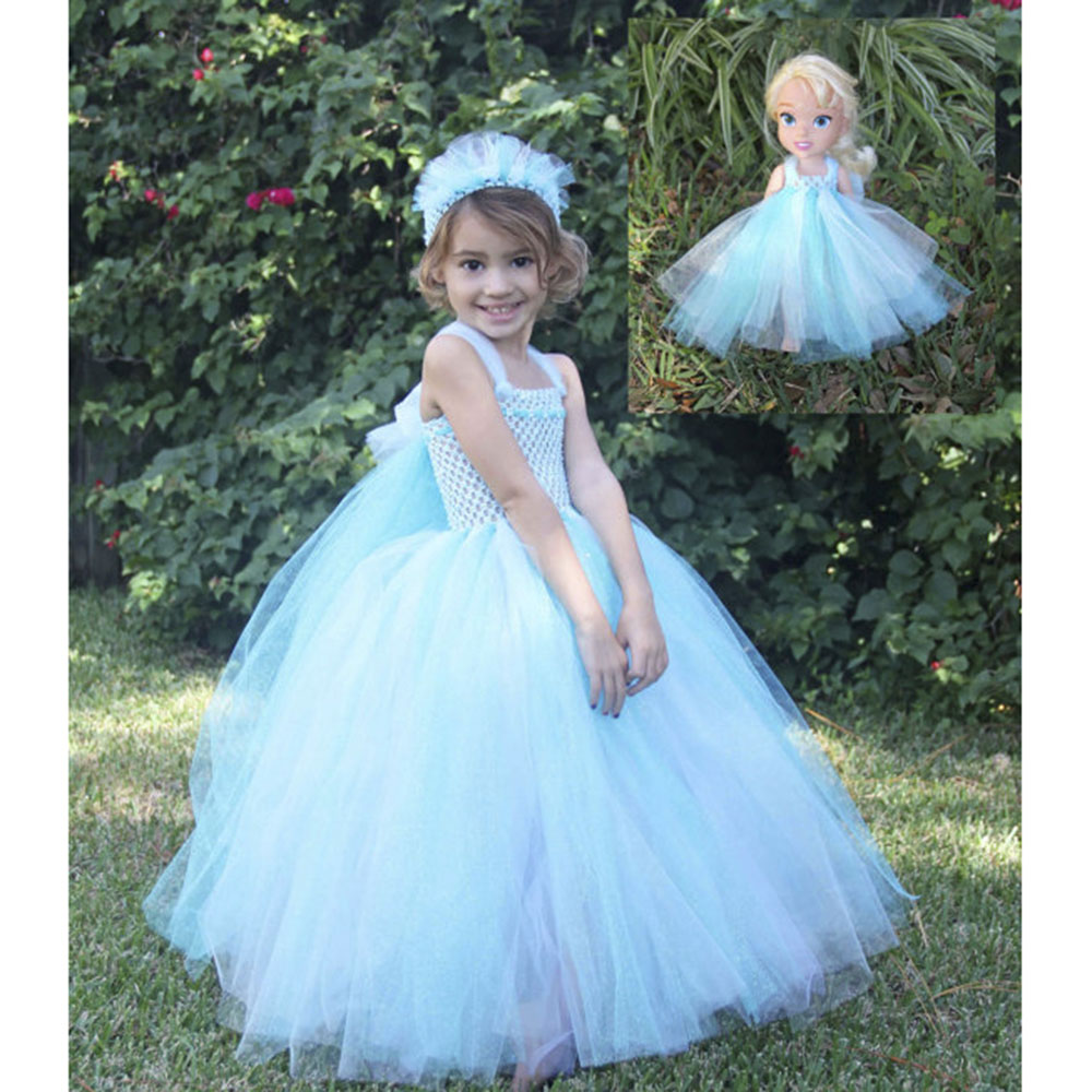 Cute Princess Elsa Inspired Girl  Dress Match Headband Baby Girls Tutu Dress For Party Teenagers 2-12Y Girl Cosplay Dress PT212 girl navy blue princess dress kimono dress cute princess tutu dress