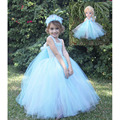 Cute Princess Elsa Inspired Girl  Dress Match Headband Baby Girls Tutu Dress For Party Teenagers 2-12Y Girl Cosplay Dress PT212