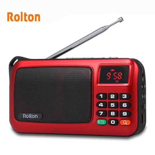 Rolton W405 Portable FM Radio USB filaire ordinateur haut parleur HiFi récepteur LED Support daffichage TF jouer avec lampe de poche argent vérifier