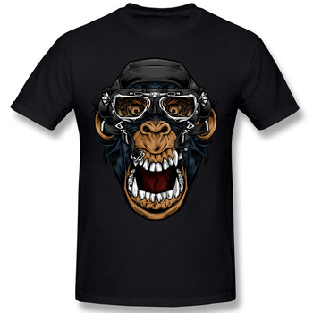Unique Summer Stylish Funny Men's Cotton T-Shirt Pilot Monkey T-shirt Gas Mask O-Neck Tops Tees stylish monkey king printed t shirt and pencil pants twinset for women