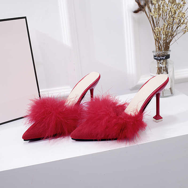 Ayakkabı Kadın Yeni 2019 Seksi Yüksek Topuklu Kama Ayakkabı Stiletto bayan terlik süet Tüy Slaytlar Yüksek topuklu ayakkabılar 8.5 cm
