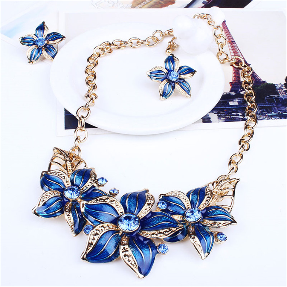 New earrings costume jewelry sets for women Big crystal enamel flower maxi statement jewllery Wedding bridal party accessories