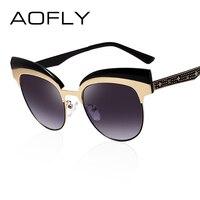AOFLY Fashion Cat Eye Sun Glasses For Women Metal Half Frame Sunglasses Vintage Brand Designer Round