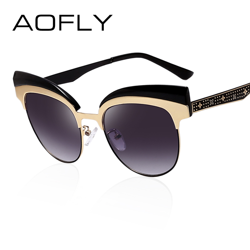 c1731b43229ec AOFLY Moda Olho de Gato óculos de Sol para As Mulheres Meia de Armação de  Metal óculos de Sol Vintage Marca Designer UV400 óculos de lente Redonda  Pernas ...