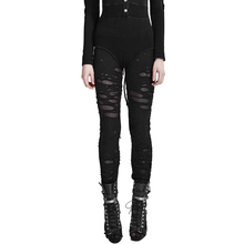 PUNK RAVE Women Pants Gothic Mesh Hole Leggings Fashions Stitching with Elastic Waist Outwear Streetwear for