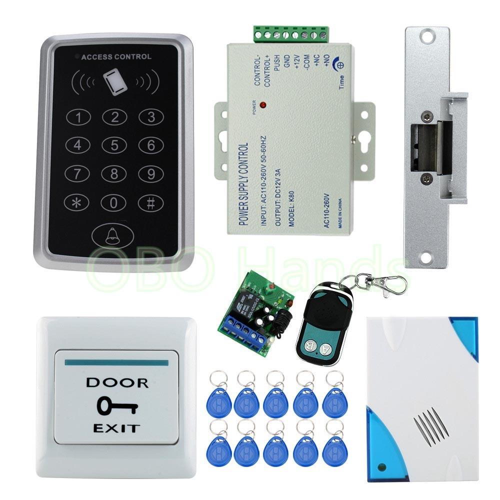DIY Remote Control Electric Lock Door Access Control System Electric Strike Lock +Power Supply+ exit+power+remote+keypad+keys