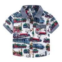 الأطفال الجديد القطن الخالص سيارة تصميم قميص في الصيف قصير كم قميص الأزياء للبيع شحن مجاني
