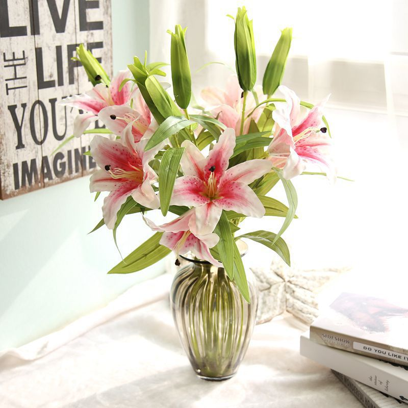 18cm Diameter Blossom Lily Banquet Home Wedding Decoration Artificial Flowers Bride Bouquet Flower Real Touch Roses in Artificial Dried Flowers from Home Garden