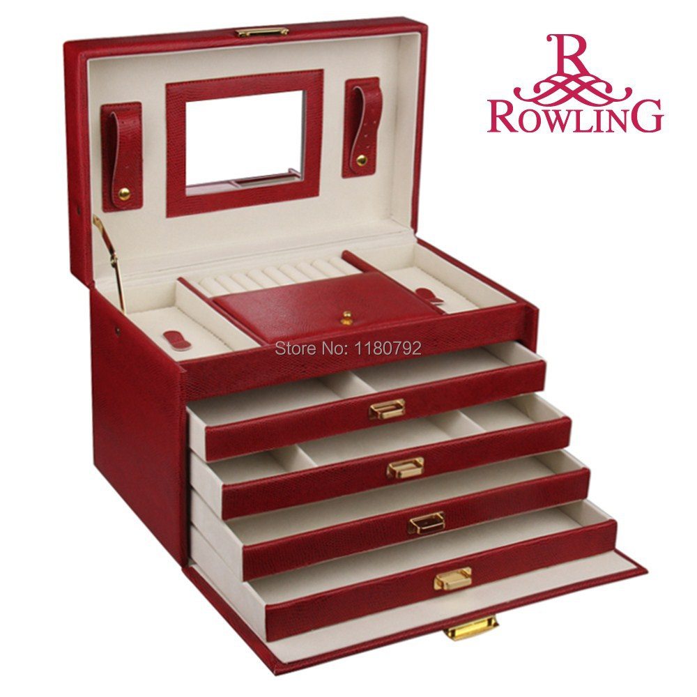 ROWLING Extra Large Red Jewelry Box Earring Ring Bracelet Pedants