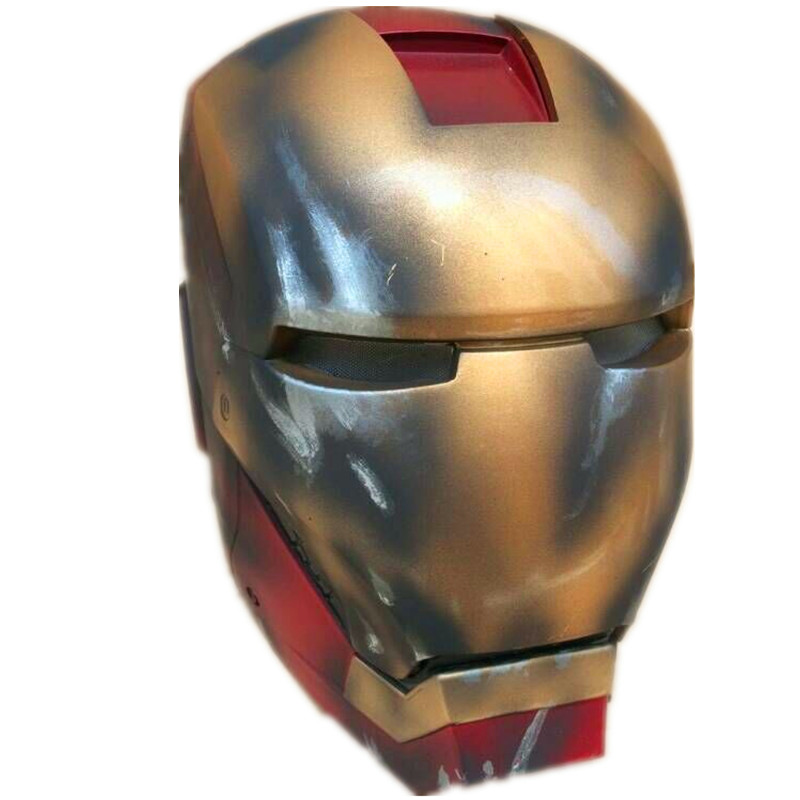 Iron man helmet mk7 battle damage version electric opening and closing 1:1 real wearable mask mask cosine model toys zy046 man kung mk cb50