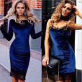 Foreign trade bursts sells sexy lace stitching swan gold velvet strap dress pack hip pencil dress