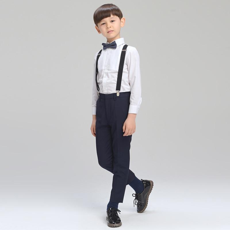 2017 Springr Big Boys Shorts Clothing Set Children Formal Clothes Kids Wedding prom Suits (Shirt+trousers+Belt+tie) Boys' Attire