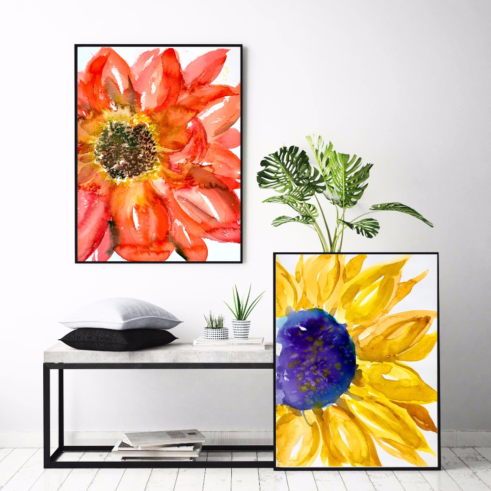 Sunflower Watercolor Set Canvas Art Print Painting Poster Wall Pictures For Living Room Home Decorative Bedroom Decor No Frame in Painting Calligraphy from Home Garden