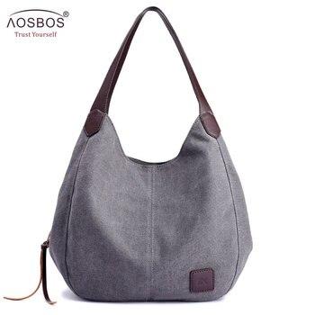c0923e485dc3 Aosbos 2019 Брендовая женская Холщовая Сумка высокого качества женская сумка  на плечо винтажная однотонная многокарманная модная