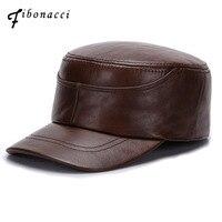 Fibonacci Brand Quality Cowhide Genuine Leather Military Cap Fashion Men S Flat Hats For Men