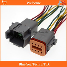 2 Pairs Deutsch DT06-8S and DT04-8P 8 Pin Engine/Gearbox electrical connector with cable for car,bus,motor,truck etc.