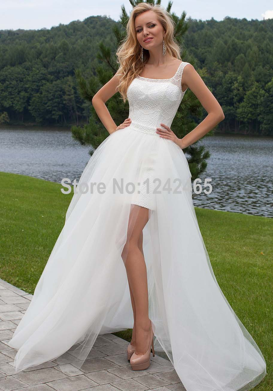 2016 best quality sheath lace square neckline high low for Short wedding dress with removable train