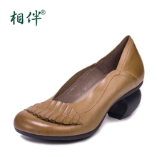 Handmade genuine leather women's shoes vintage flower shallow mouth comfortable single shoes