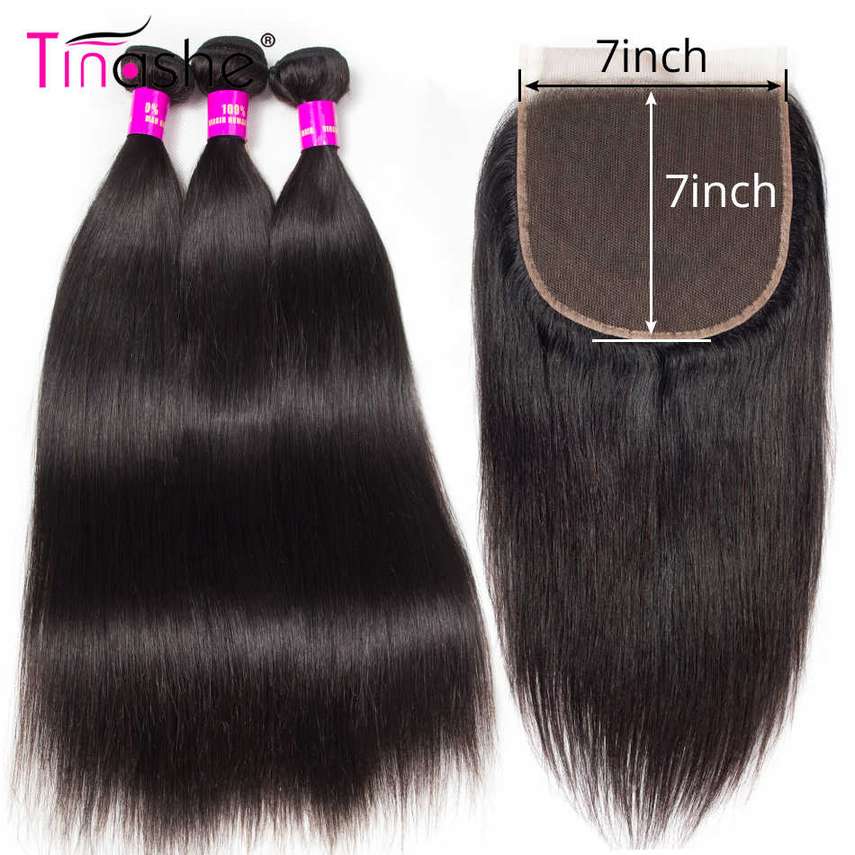Tinashe Hair 7x7 Lace Closure With Bundles Straight Hair Bundles With Closure Remy Brazilian Human Hair 3 Bundles With Closure