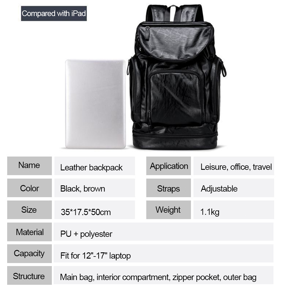 17 pouces ordinateur portable 15.6 PU cuir sacs à dos Anti-vol hommes mode sac à dos dos Packs voyage étudiant sacs chaussures USB musique sac à dos - 4