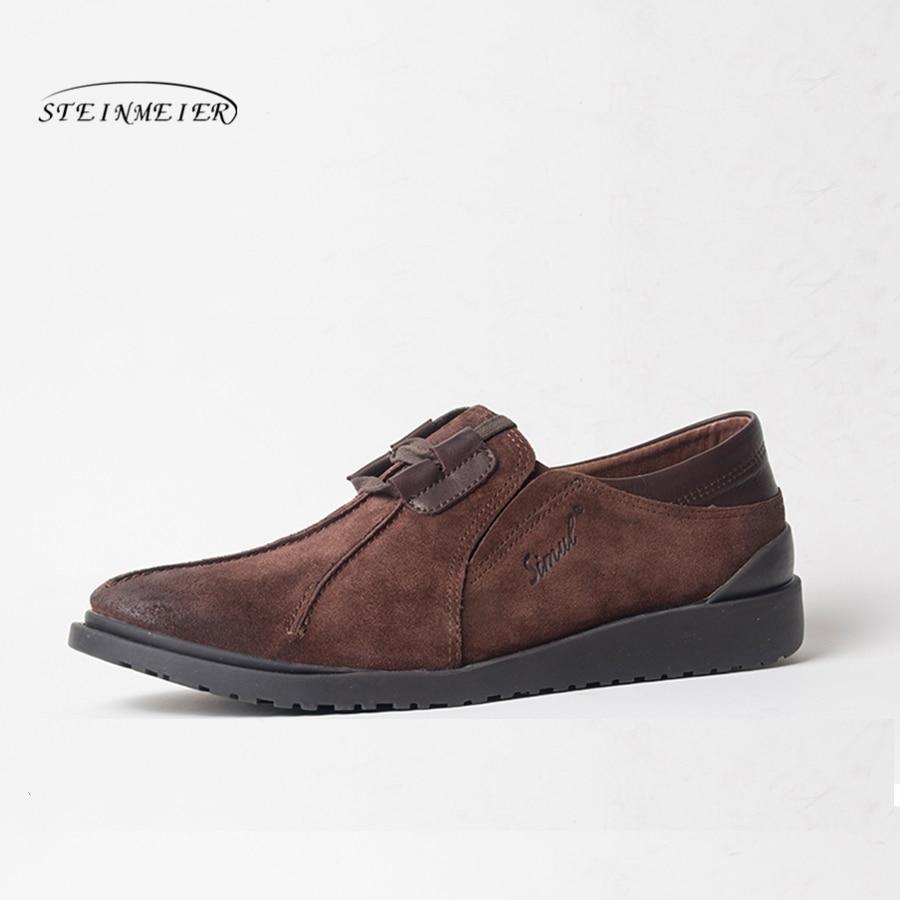 Ayakk.'ten Erkek Rahat Ayakkabılar'de Erkekler Rahat deri ayakkabı erkek Nefes mat cowskin Ayakkabı lace up Erkekler Flats deri makosenler düz ayakkabı'da  Grup 1