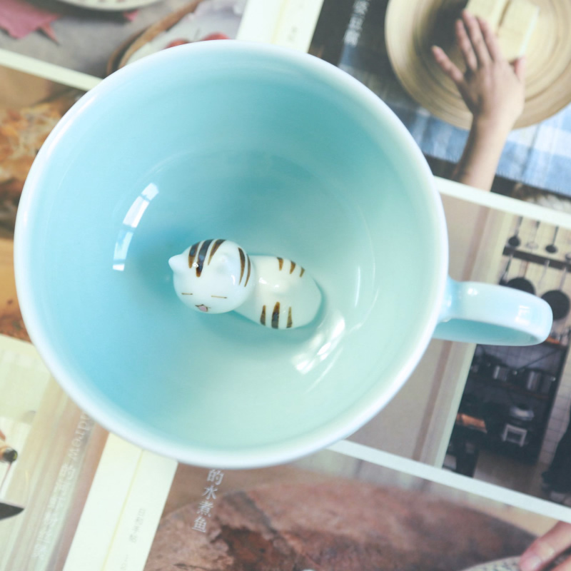 Exquisite handmade Sleepy cat ceramic cup Bottom lazy cat coffee cup 200ML