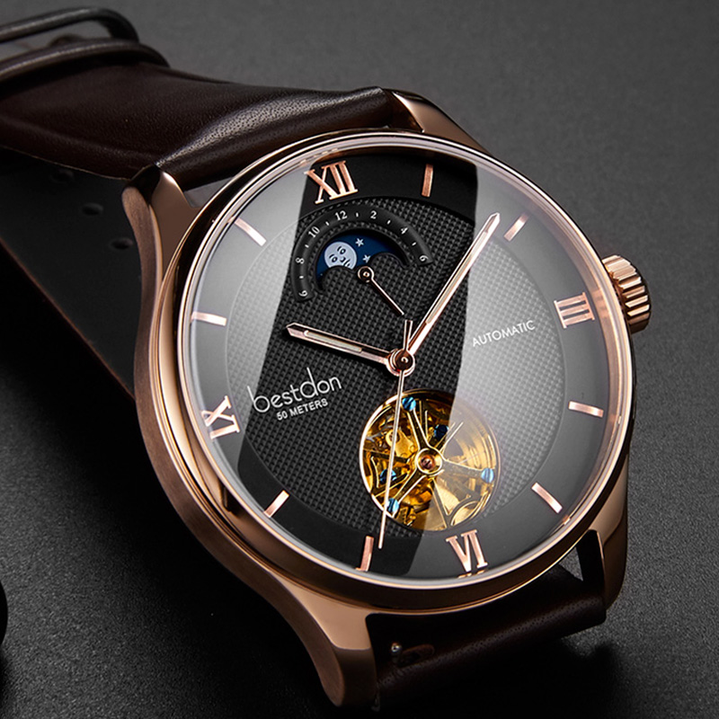 Bestdon Top Luxury Brand Men Skeleton Watch Automatic Mechanical Wristwatch Guanqin Waterproof Moon Phase Leather Watch Hot Sale