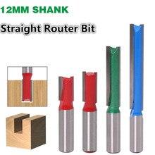 1 pc 12 millimetri Shank Etero Punte del Router Lavorazione Del Legno Intagliare 2 Flauto di Legno di Fresatura Per Incidere Fresa In Metallo Duro CNC Bit