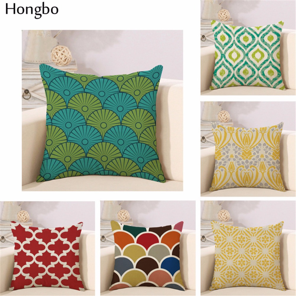 hongbo colorful geometric cotton square pillowcases home office seat care lumbar pad cover striped waves decorative pillow cover - Decorative Pillows Cheap