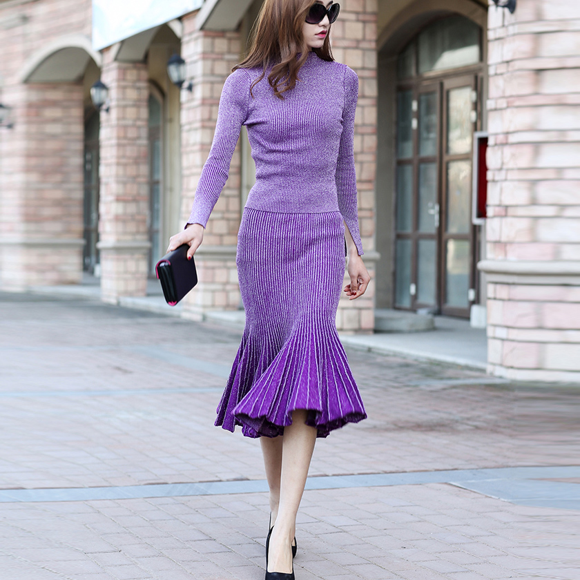 TOP QUALITY New 2018 Fashion Designer Runway Suit Set Women's Knitting Sweater Gradient Color Mermaid Skirt Set