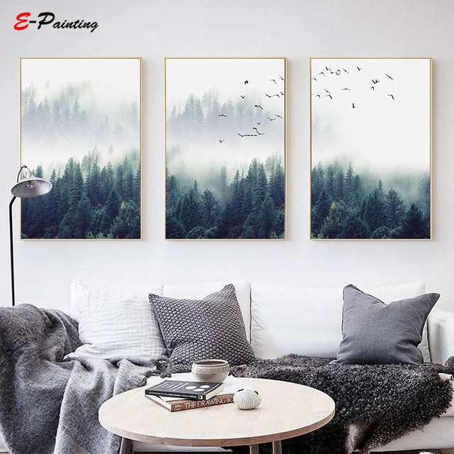 Modern Painting Canvas Nordic Decoration Forest Lanscape Wall Art Poster and Print Decorative Picture for Living Room