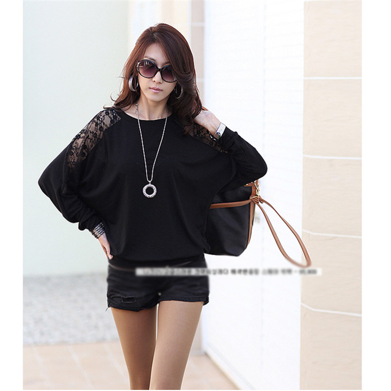 Sexy Women Ladies Lace Blouses Batwing Casual Loose Top Hollow Out Chiffon  Dolman Lace Long Sleeves