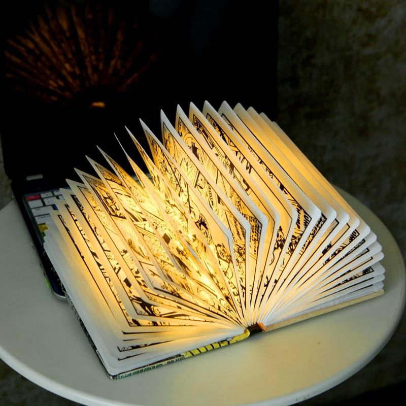 Folding And Flipping Wireless Book Lamp LED Creative Charging Book Lamp  The Avengers Superhero Movie Iron Man Luminous Nightlig