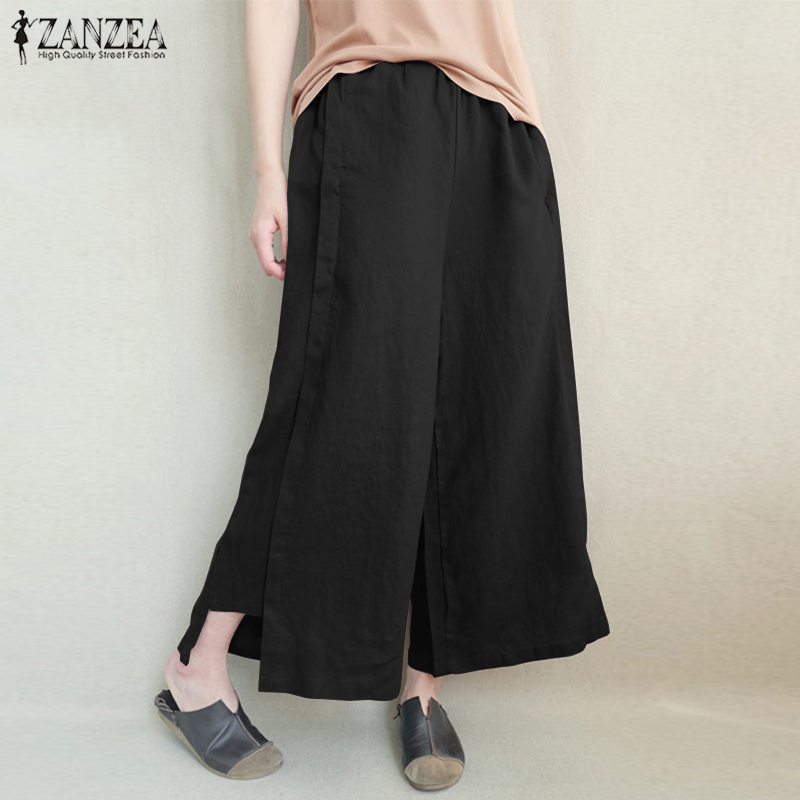 2019 ZANZEA Fashion Women Summer Casual Solid Loose Flare Pantalon Elastic Waist Cotton Linen Trousers Oversized   Wide     Leg     Pants