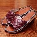 Par de verano Zapatillas de Casa Zapatillas de Interior de Cuero Genuino Suave y Cómodo Zapatos Caseros Antideslizantes para Hombres y mujeres