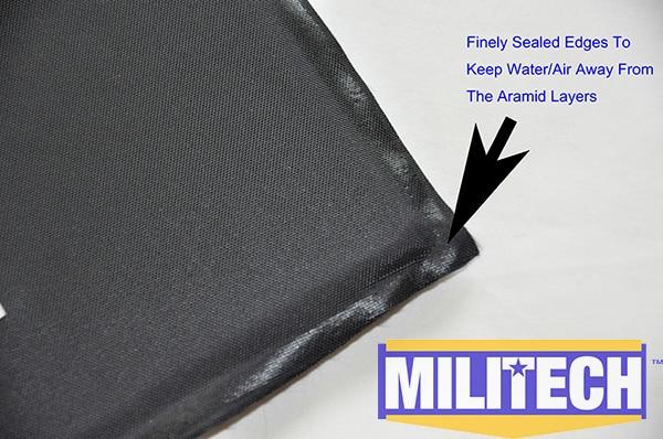 MILITECH 6 x 6 Square Cut Pair Bulletproof Aramid Ballistic Panel + E2 Stab Resistant Body Armor NIJ Level IIIA 3A NIJ 0115.00