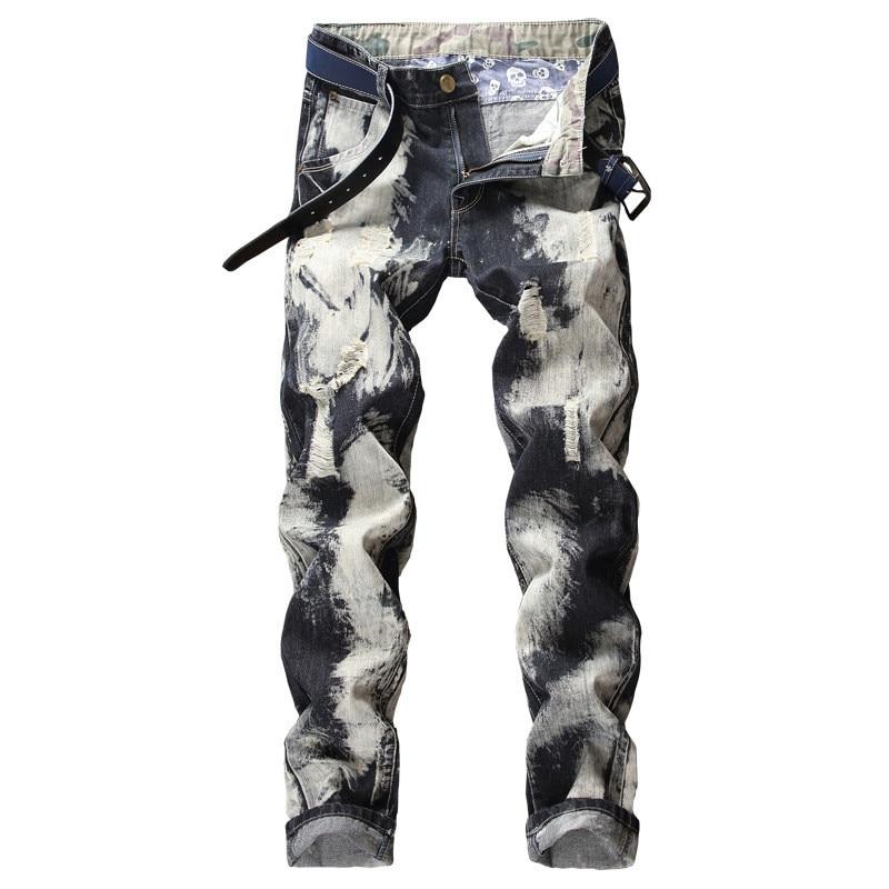 MORUANCLE Fashion Men Ripped Jeans Pants Hi Street Distressed Denim Trousers Man Straight Destroyed Jean Joggers Plus Size 28-40