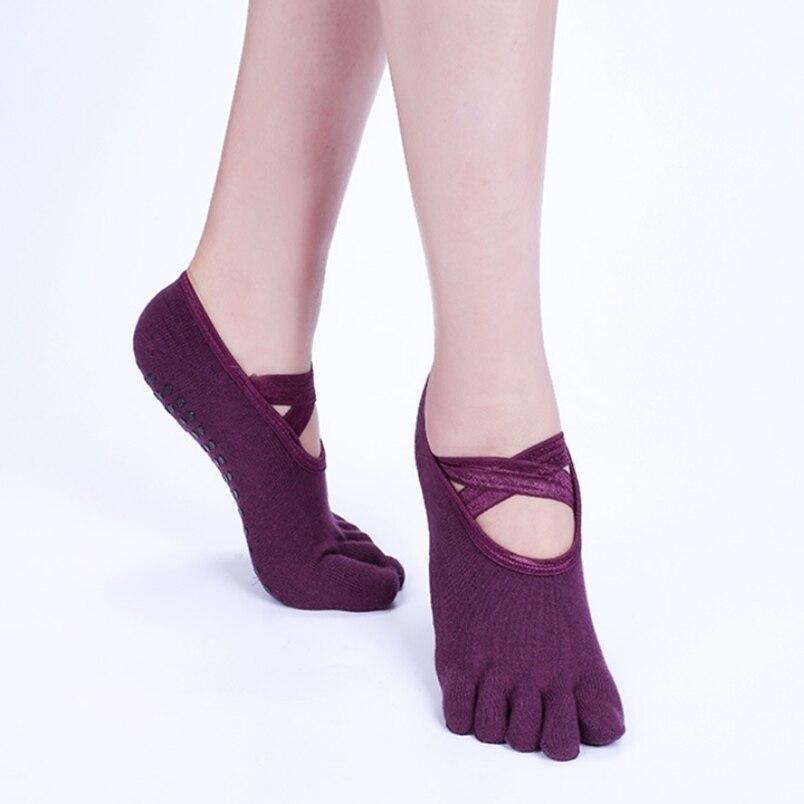 Women Yoga Socks Anti-slip Five Fingers Backless Silicone Non-slip 5 Toe Socks Ballet Dance Gym Fitness Sports Cotton Socks